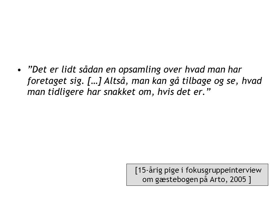 [15-årig pige i fokusgruppeinterview om gæstebogen på Arto, 2005 ]